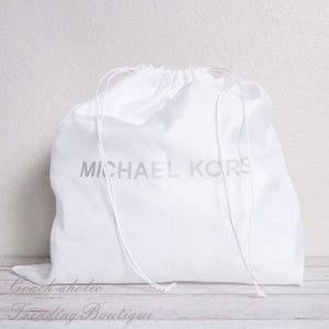 NWT Michael Kors White Satin Drawstring Dust bag